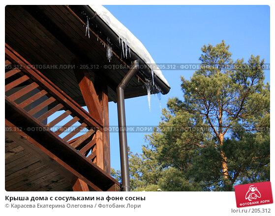 Купить «Крыша дома с сосульками на фоне сосны», фото № 205312, снято 5 февраля 2008 г. (c) Карасева Екатерина Олеговна / Фотобанк Лори