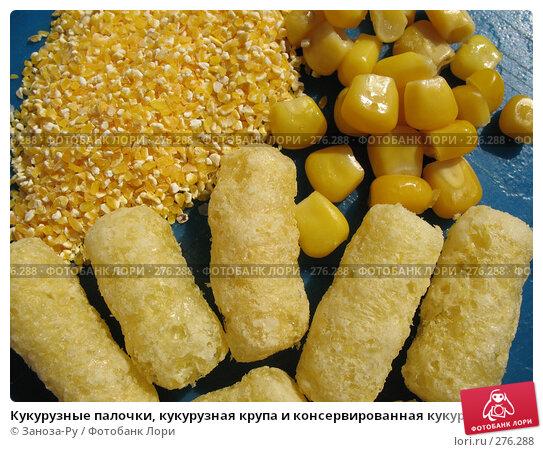 Кукурузные палочки, кукурузная крупа и консервированная кукуруза, фото № 276288, снято 2 мая 2008 г. (c) Заноза-Ру / Фотобанк Лори