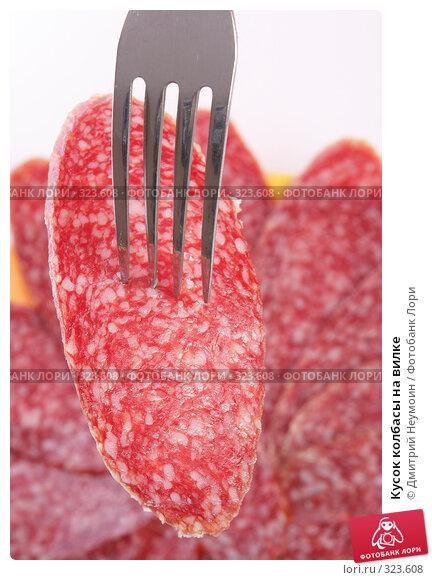 Кусок колбасы на вилке, эксклюзивное фото № 323608, снято 9 июня 2008 г. (c) Дмитрий Неумоин / Фотобанк Лори