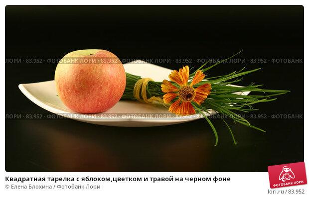 Квадратная тарелка с яблоком,цветком и травой на черном фоне, фото № 83952, снято 26 августа 2007 г. (c) Елена Блохина / Фотобанк Лори