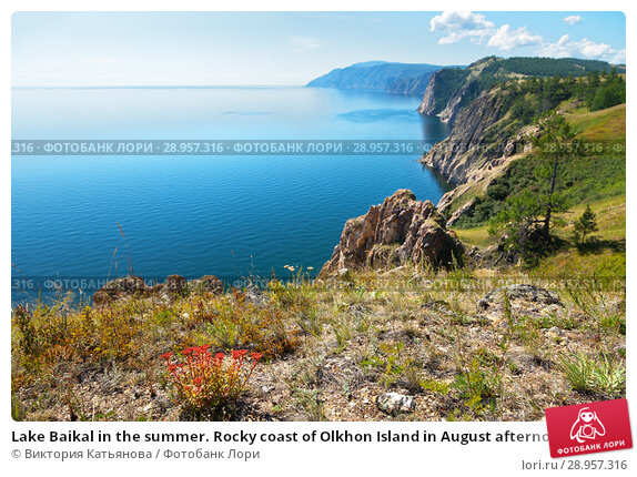 Купить «Lake Baikal in the summer. Rocky coast of Olkhon Island in August afternoon», фото № 28957316, снято 21 августа 2010 г. (c) Виктория Катьянова / Фотобанк Лори
