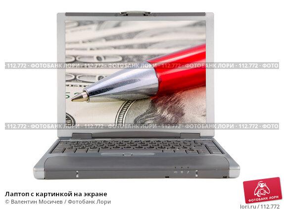 Лаптоп с картинкой на экране, фото № 112772, снято 16 февраля 2007 г. (c) Валентин Мосичев / Фотобанк Лори