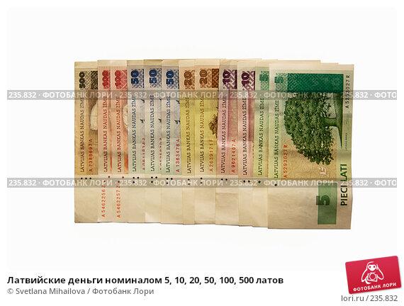 Латвийские деньги номиналом 5, 10, 20, 50, 100, 500 латов, фото № 235832, снято 28 марта 2008 г. (c) Svetlana Mihailova / Фотобанк Лори