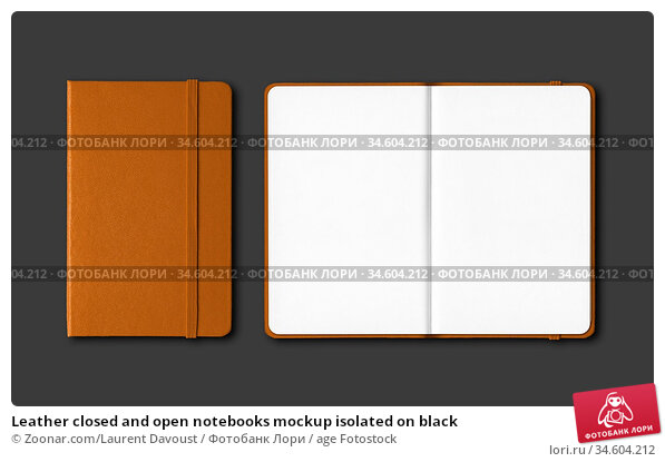 Leather closed and open notebooks mockup isolated on black. Стоковое фото, фотограф Zoonar.com/Laurent Davoust / age Fotostock / Фотобанк Лори