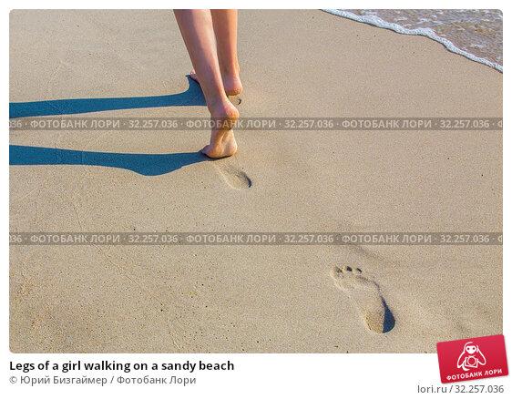 Купить «Legs of a girl walking on a sandy beach», фото № 32257036, снято 19 июля 2018 г. (c) Юрий Бизгаймер / Фотобанк Лори