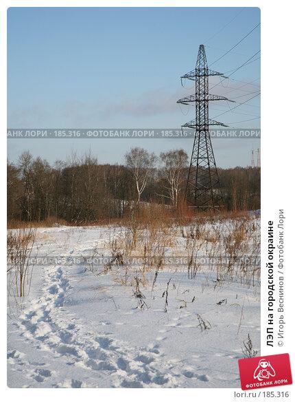 ЛЭП на городской окраине, фото № 185316, снято 24 января 2008 г. (c) Игорь Веснинов / Фотобанк Лори