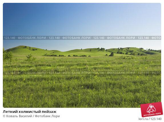 Летний холмистый пейзаж, фото № 123140, снято 25 июля 2017 г. (c) Коваль Василий / Фотобанк Лори