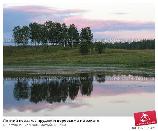 Летний пейзаж с прудом и деревьями на закате, фото № 115396, снято 21 июля 2007 г. (c) Светлана Силецкая / Фотобанк Лори