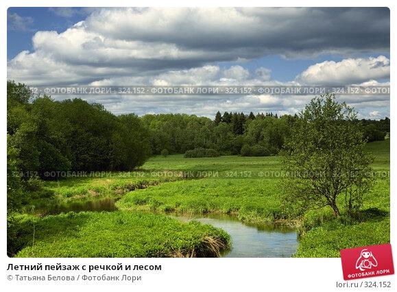 Летний пейзаж с речкой и лесом, фото № 324152, снято 1 июня 2008 г. (c) Татьяна Белова / Фотобанк Лори