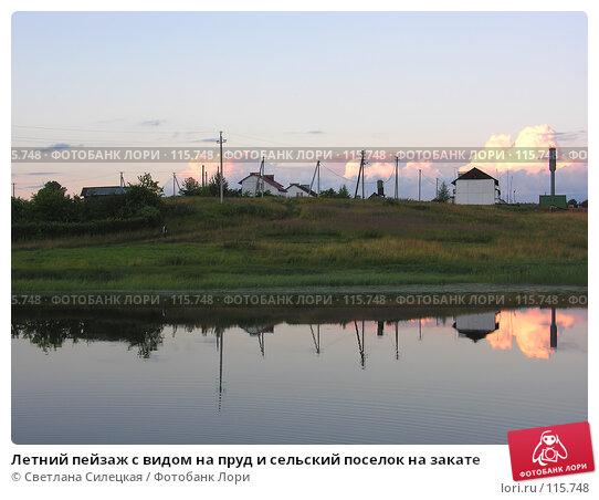 Летний пейзаж с видом на пруд и сельский поселок на закате, фото № 115748, снято 21 июля 2007 г. (c) Светлана Силецкая / Фотобанк Лори
