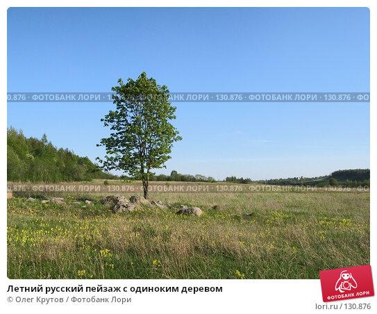 Летний русский пейзаж с одиноким деревом, фото № 130876, снято 27 марта 2017 г. (c) Олег Крутов / Фотобанк Лори
