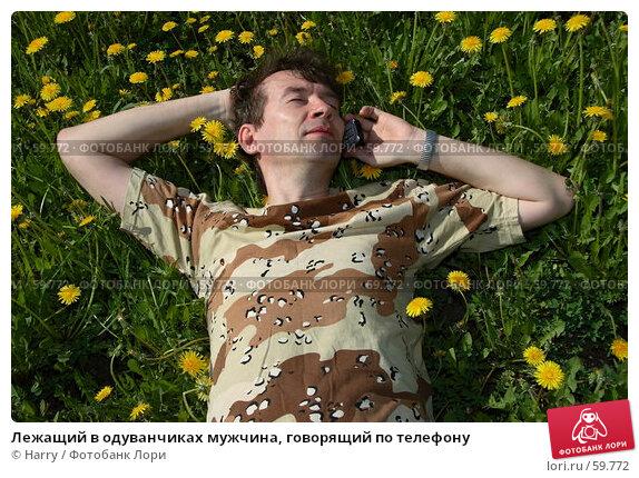 Лежащий в одуванчиках мужчина, говорящий по телефону, фото № 59772, снято 23 июня 2005 г. (c) Harry / Фотобанк Лори