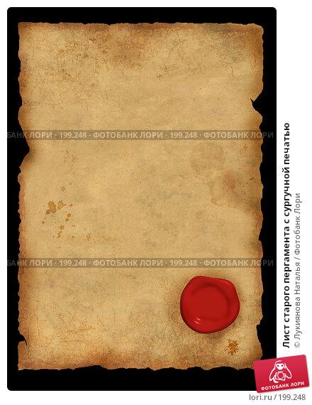 Лист старого пергамента с сургучной печатью, иллюстрация № 199248 (c) Лукиянова Наталья / Фотобанк Лори