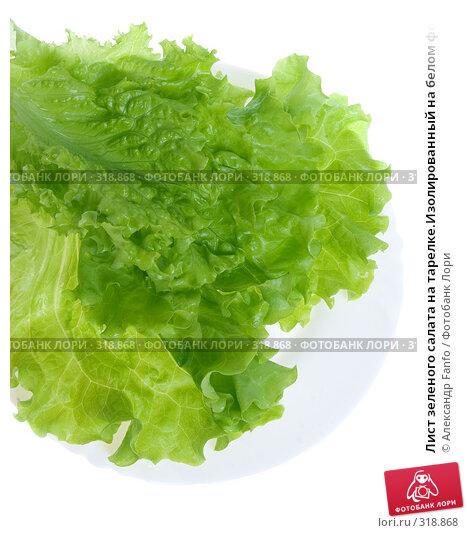 Купить «Лист зеленого салата на тарелке.Изолированный на белом фоне», фото № 318868, снято 22 ноября 2017 г. (c) Александр Fanfo / Фотобанк Лори