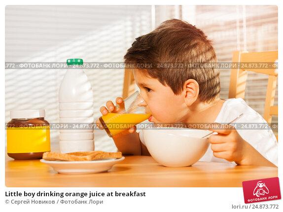 Купить «Little boy drinking orange juice at breakfast», фото № 24873772, снято 4 декабря 2016 г. (c) Сергей Новиков / Фотобанк Лори