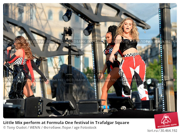 Little Mix perform at Formula One festival in Trafalgar Square (2017 год). Редакционное фото, фотограф Tony Oudot / WENN / age Fotostock / Фотобанк Лори