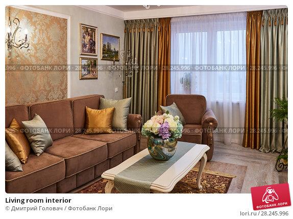 Купить «Living room interior», фото № 28245996, снято 9 февраля 2018 г. (c) Дмитрий Головач / Фотобанк Лори