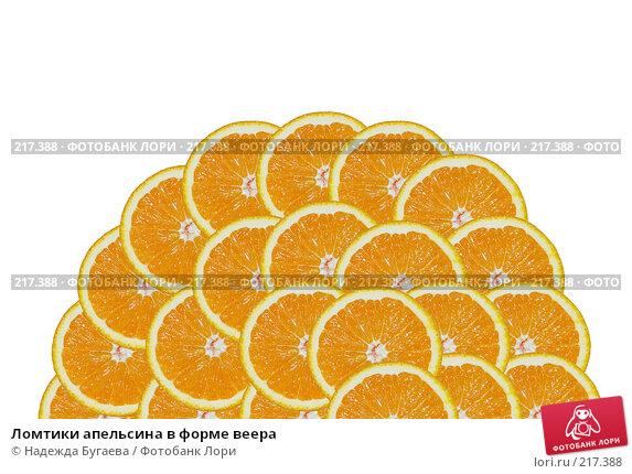 Ломтики апельсина в форме веера, фото № 217388, снято 30 апреля 2007 г. (c) Надежда Бугаева / Фотобанк Лори