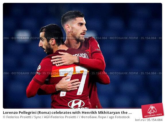 Lorenzo Pellegrini (Roma) celebrates with Henrikh Mkhitaryan the ... Редакционное фото, фотограф Federico Proietti / Sync / AGF/Federico Proietti / / age Fotostock / Фотобанк Лори