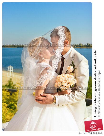 Loving bride and groom sheltered veil bride. Стоковое фото, фотограф Nataliia Zhekova / Фотобанк Лори