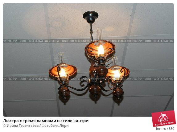 Купить «Люстра с тремя лампами в стиле кантри», эксклюзивное фото № 880, снято 19 ноября 2005 г. (c) Ирина Терентьева / Фотобанк Лори