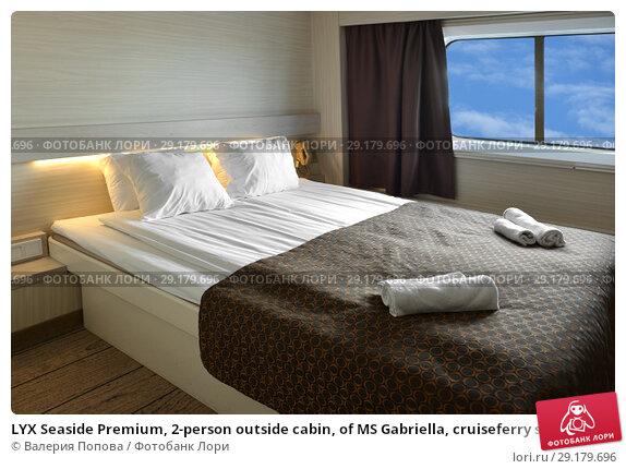 LYX Seaside Premium, 2-person outside cabin, of MS Gabriella, cruiseferry sailing on route connecting Helsinki, Finland and Stockholm, Sweden for Viking Line (2018 год). Редакционное фото, фотограф Валерия Попова / Фотобанк Лори