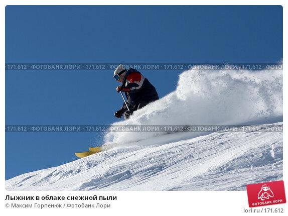 Лыжник в облаке снежной пыли, фото № 171612, снято 25 декабря 2007 г. (c) Максим Горпенюк / Фотобанк Лори
