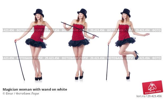 Купить «Magician woman with wand on white», фото № 29423456, снято 22 августа 2013 г. (c) Elnur / Фотобанк Лори