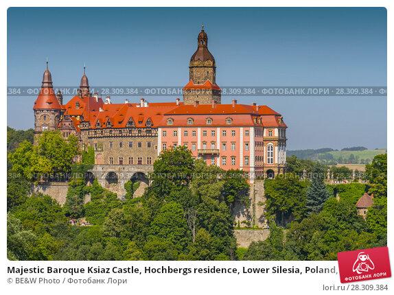 Купить «Majestic Baroque Ksiaz Castle, Hochbergs residence, Lower Silesia, Poland, Europe», фото № 28309384, снято 26 апреля 2018 г. (c) BE&W Photo / Фотобанк Лори