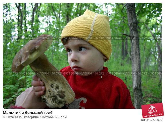 Мальчик и большой гриб, фото № 56072, снято 11 июня 2006 г. (c) Останина Екатерина / Фотобанк Лори