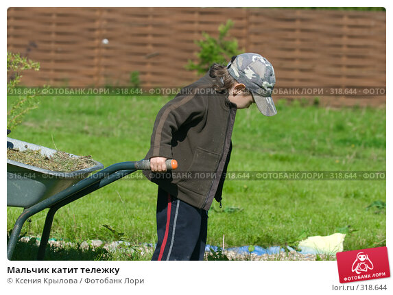 Мальчик катит тележку, фото № 318644, снято 5 июня 2008 г. (c) Ксения Крылова / Фотобанк Лори