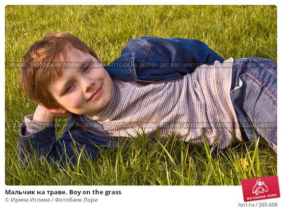 Мальчик на траве. Boy on the grass, фото № 265608, снято 28 апреля 2008 г. (c) Ирина Иглина / Фотобанк Лори