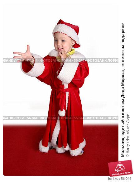 Мальчик, одетый в костюм Деда Мороза,  тянется за подарком, фото № 56044, снято 4 июня 2007 г. (c) Harry / Фотобанк Лори
