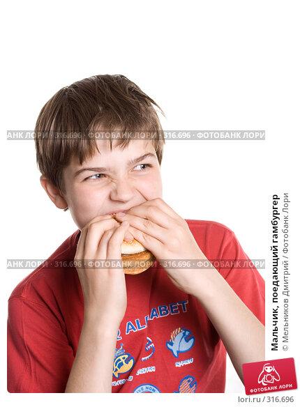 Купить «Мальчик, поедающий гамбургер», фото № 316696, снято 28 мая 2008 г. (c) Мельников Дмитрий / Фотобанк Лори