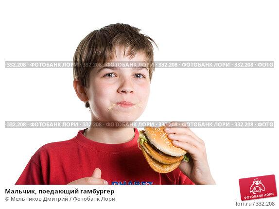 Купить «Мальчик, поедающий гамбургер», фото № 332208, снято 28 мая 2008 г. (c) Мельников Дмитрий / Фотобанк Лори