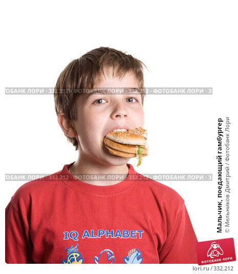 Мальчик, поедающий гамбургер, фото № 332212, снято 28 мая 2008 г. (c) Мельников Дмитрий / Фотобанк Лори