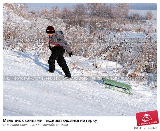 Купить «Мальчик с санками, поднимающийся на горку», фото № 164424, снято 16 декабря 2007 г. (c) Михаил Коханчиков / Фотобанк Лори