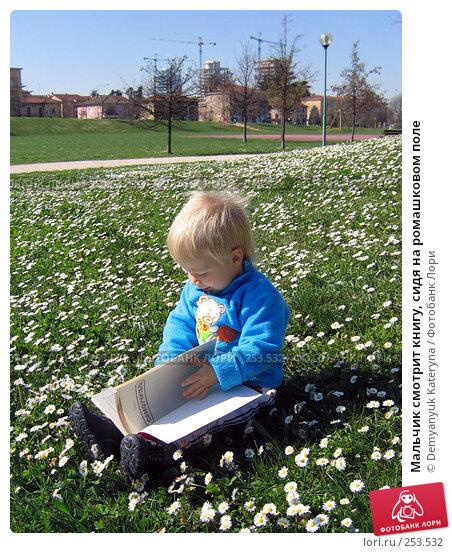 Мальчик смотрит книгу, сидя на ромашковом поле, фото № 253532, снято 12 марта 2007 г. (c) Demyanyuk Kateryna / Фотобанк Лори