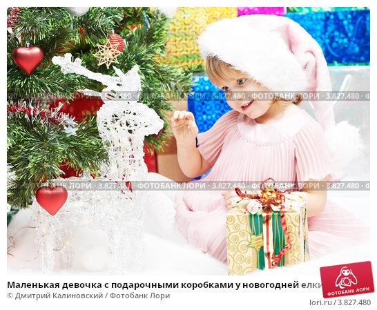 Купить «Маленькая девочка с подарочными коробками у новогодней елки», фото № 3827480, снято 23 декабря 2011 г. (c) Дмитрий Калиновский / Фотобанк Лори