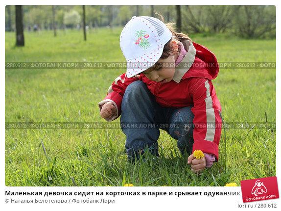 Маленькая девочка сидит на корточках в парке и срывает одуванчик, фото № 280612, снято 10 мая 2008 г. (c) Наталья Белотелова / Фотобанк Лори