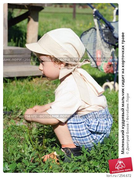 Маленький кудрявый мальчик сидит на корточках траве, фото № 254672, снято 3 июня 2006 г. (c) Дмитрий Боков / Фотобанк Лори