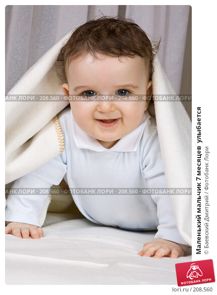 Купить «Маленький мальчик 7 месяцев  улыбается», фото № 208560, снято 24 марта 2018 г. (c) Баевский Дмитрий / Фотобанк Лори
