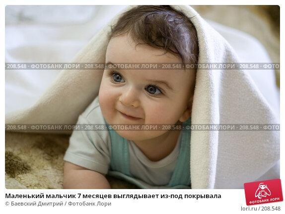 Маленький мальчик 7 месяцев выглядывает из-под покрывала, фото № 208548, снято 23 июля 2017 г. (c) Баевский Дмитрий / Фотобанк Лори