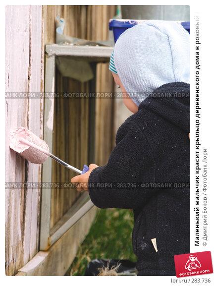 Маленький мальчик красит крыльцо деревенского дома в розовый цвет, фото № 283736, снято 9 мая 2008 г. (c) Дмитрий Боков / Фотобанк Лори
