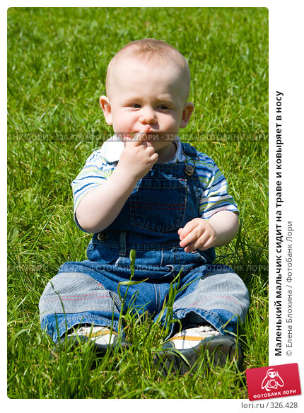 Маленький мальчик сидит на траве и ковыряет в носу, фото № 326428, снято 14 июня 2008 г. (c) Елена Блохина / Фотобанк Лори