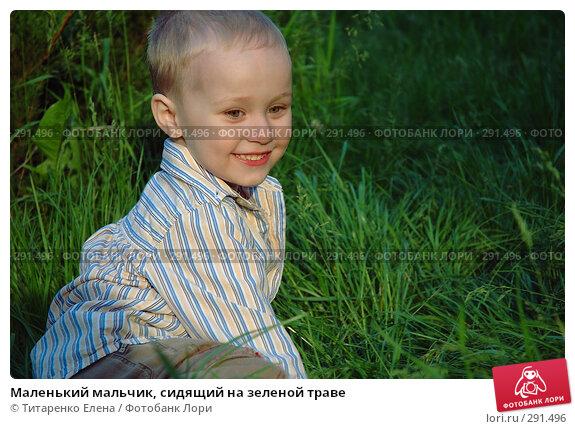 Маленький мальчик, сидящий на зеленой траве, фото № 291496, снято 18 мая 2008 г. (c) Титаренко Елена / Фотобанк Лори