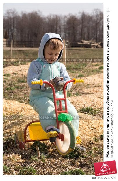 Купить «Маленький мальчик в голубом комбинезоне играет в сельском дворе с трехколесным велосипедом (6)», фото № 274776, снято 20 апреля 2008 г. (c) Дмитрий Боков / Фотобанк Лори