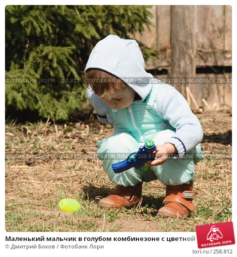 Купить «Маленький мальчик в голубом комбинезоне с цветной игрушкой на фоне хвойного дерева», фото № 258812, снято 20 апреля 2008 г. (c) Дмитрий Боков / Фотобанк Лори