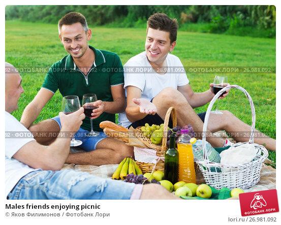 Males friends enjoying picnic, фото № 26981092, снято 23 августа 2017 г. (c) Яков Филимонов / Фотобанк Лори