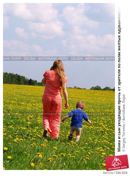 Мама и сын уходящие прочь от зрителя по полю желтых одуванчиков, фото № 326824, снято 18 мая 2008 г. (c) Sergey Toronto / Фотобанк Лори